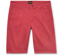 Pleated Stretch-cotton Twill Shorts - Brick