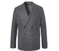 Charcoal Slim-fit Unstructured Double-breasted Virgin Wool-blend Blazer