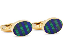 18-Karat White Gold, Diamond and Enamel Cufflinks