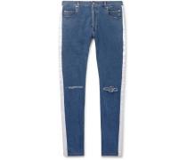 Skinny-fit Satin-trimmed Distressed Denim Jeans - Blue