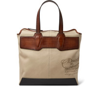 Air Small Canvas And Leather Tote Bag - Beige