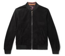 Slim-fit Suede Bomber Jacket - Black