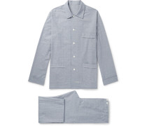 Prince Of Wales Checked Brushed Cotton-twill Pyjama Set - Blue
