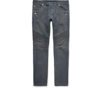 Slim-fit Ribbed Distressed Stretch-denim Jeans