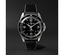 BR V2-92 Automatic 41mm Stainless Steel and Leather Watch, Ref. No. BRV292-­‐BL-­‐ST/SCA