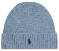 Merino Wool Beanie - Blue