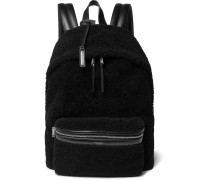 City Leather-trimmed Fleece And Canvas Backpack