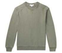 Distressed Loopback Cotton-jersey Sweatshirt - Green