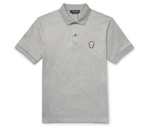 Slim-fit Zardozi-appliquéd Mercerised Cotton-jersey Polo Shirt