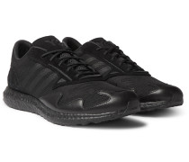 Rhisu Run Suede and Leather-Trimmed Mesh Sneakers