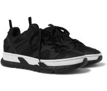Leather And Suede-trimmed Mesh Sneakers - Black
