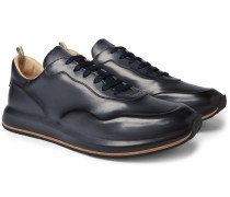 Race Lux Burnished-Leather Sneakers