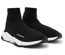 Speed Sock Stretch-knit Slip-on Sneakers - Black