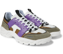 Lucky 9 Mesh, Suede And Leather Sneakers - Purple