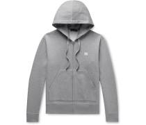 Ferris Logo-Appliquéd Mélange Fleece-Back Cotton-Jersey Zip-Up Hoodie