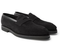 Capri Suede Penny Loafers - Black