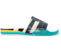 + adidas Originals Samba Adilette Printed Textured-Rubber Slides