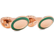 + Deakin & Francis Engraved Rose Gold-Plated and Enamel Cufflinks