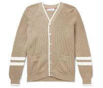 Contrast-Tipped Striped Ribbed Cotton Cardigan