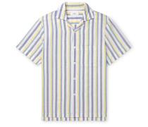 Camp-Collar Striped Linen and Cotton-Blend Shirt