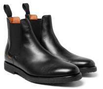 Cross-grain Leather Chelsea Boots - Black