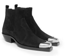 Metal Cap-toe Suede Chelsea Boots