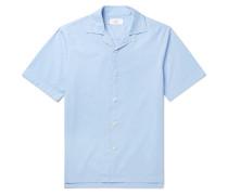Camp-Collar Garment-Dyed Cotton-Poplin Shirt