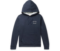 Logo-Print Loopback Washed-Cotton Jersey Hoodie