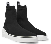 George V Logo-jacquard Stretch-knit High-top Slip-on Sneakers