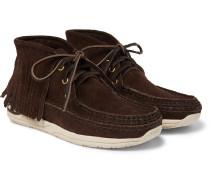 Voyageur Moc Shaman-Folk Fringed Suede Boots