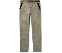 Slim-fit Velvet-trimmed Camouflage-print Brushed-cotton Trousers