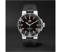 Aquis Date Divers Stainless Steel And Rubber Watch