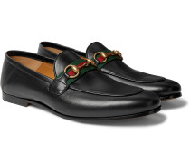 Brixton Webbing-Trimmed Horsebit Collapsible-Heel Leather Loafers