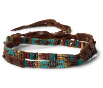 Multi-Stone and Leather Wrap Bracelet