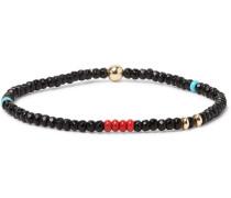 Onyx, Turquoise And 14-karat Gold-plated Bracelet - Black