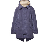 Shearling-trimmed Cotton Hooded Parka With Detachable Down Lining - Indigo
