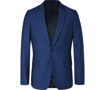 Navy Soho Slim-fit Wool And Mohair-blend Suit Jacket - Royal blue