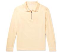 Cotton And Silk-blend Half-zip Shirt - Yellow