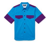 Contrast-trimmed Cotton-gabardine Shirt - Blue