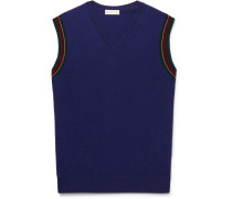 Contrast-tipped Wool Sweater Vest