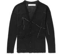 Slim-Fit Embroidered Linen Cardigan