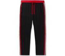 Tapered Logo Webbing-trimmed Woven Drawstring Trousers - Black