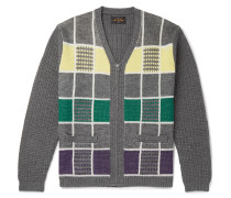 Checked Wool Zip-Up Cardigan