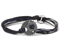 Gear Elemental Cord And Rhodium-plated Bracelet - Navy