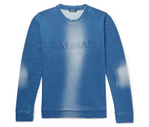 Slim-fit Distressed Logo-embossed Loopback Cotton-jersey Sweatshirt