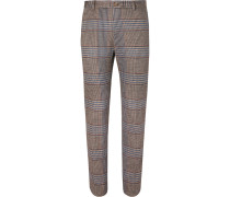 Brown Slim-fit Prince Of Wales Checked Cotton And Wool-blend Suit Trousers