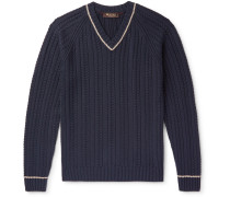 Striped Cable-Knit Cotton and Silk-Blend Sweater