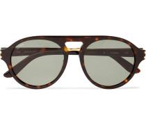 Aviator-style Tortoiseshell Acetate And Gold-tone Sunglasses - Brown