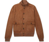 Valstarino Slim-fit Unlined Suede Bomber Jacket - Tan