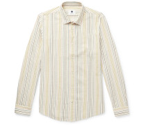 Morgan Slim-Fit Striped Cotton, Linen and Lyocell-Blend Shirt